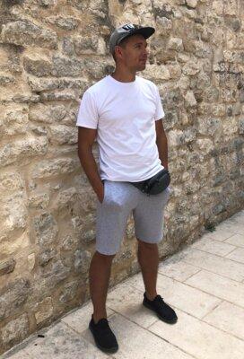Костюм мужской футболка шорты белый с св-серым