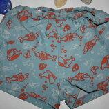 Голубые плавки-шортики с рыбками р-116 в хорошем состоянии