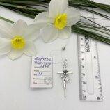 жіночий срібний хрестик з розою, женский серебряный крестик с розамм