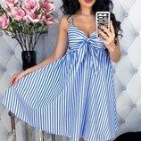 Женское летнее коттоновое платье сарафан в полоску скл.1 арт. 53724