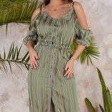 Женское платье рубашка в полоску с открытыми плечами ткань шелк с принтом скл.1 арт.53734