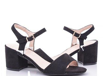 Женские черные замшевые босоножки на невысоком каблуке 36 37 38 39 40 41