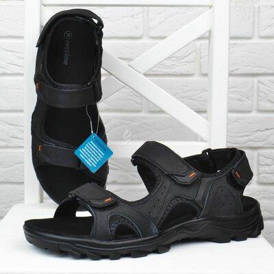 Сандалии мужские кожаные спортивные Restime in black черные на липучках