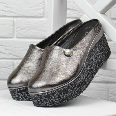 Сабо женские кожаные на танкетке Anna Lucci металлик серебро