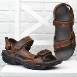 Сандалии мужские кожаные спортивные Fly fast Вьетнам коричневые на липучках