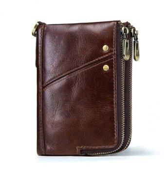 Стильный кожаный мужской кошелек черный, коричневый натуральная кожа