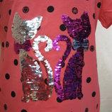 Платья детские хлопковые летние с кошечками котиками пайетками