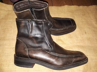 46р- 31 см кожа ботинки зима Roberto Santi в реале цвет спокойный коричневый, еле заметные разводы