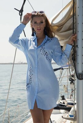 Пляжная рубашка с хлопка INDIANO код 1253 в наличии
