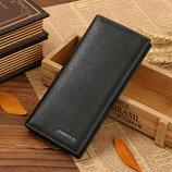Кожаный мужской кошелек черный, коричневы йнатуральная кожа