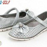 Летние туфли с перфорацией для девочки бренда Jong Golf р. 32-37 , код - 316