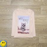 Лонгслив C&A 9-10 лет 134-140 см. Состояние нового. реглан, футболка, кот, кошка