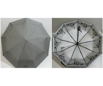 Зонт, автомат, с внутренним рисунком, Карбон