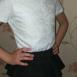 Красивая кружевная футболка для девочки. Размер 122,128,134.