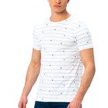 Мужская футболка белая Lc Waikiki / Лс Вайкики в голубую полоску