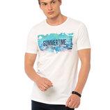 Мужская футболка белая Lc Waikiki / Лс Вайкики с надписью Summertime