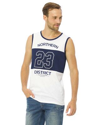 Мужская майка белая Lc Waikiki / Лс Вайкики с синей полосой и надписью Northern District 23