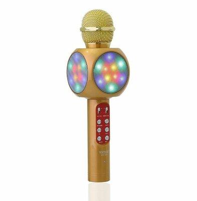 Беспроводной микрофон караоке с динамиком и цветомузыкой Wster Ws-1816, yellow