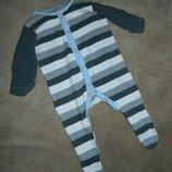 Человечек слип белый в серую полоску на малыша 0-3 месяца Mothercare.