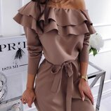 Обворожительное платье мини с тройным воланом и поясом разные цвета от рр40 по рр46