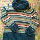 Свитер туника Большой воротник Теплый полоска Отличный свитер. Тепленький. Интересный воротник. Цве