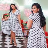 Очаровательное летнее платье в больших размерах 41287-1 Софт Горох Запах в расцветках