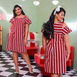Стильное женское летнее платье в больших размерах 41275-1 Софт Полоска Плечи Волан в расцветках