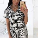 Платье повседневное лето супер софт принт зебра