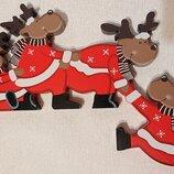 Новогодний декор новогодние олени, украшение для дверной коробки