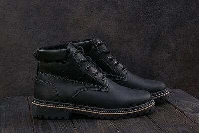 Ботинки мужские Yuves 444 черные-матовые натуральная кожа, зима