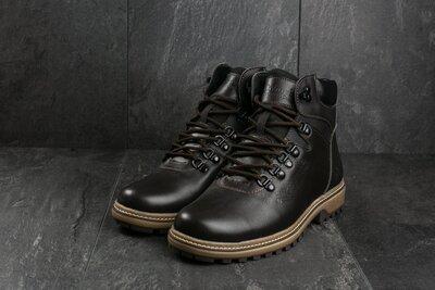 Ботинки мужские Yuves 700 коричневые натуральная кожа, зима