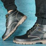 Ботинки Pav 9665 зима, мужские, натуральная кожа, черный