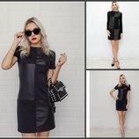 Супер цена Платье с коротким и длинным рукавом клетка черное кож зам, искусственная кож 10133-10143