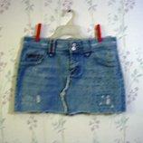 Юбка р.48-50 короткая, Пот- 43 New Look распродажа, джинсовая,