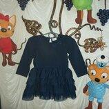 Классное платье с длинным рукавом на 12-18м