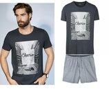 Летний комплект 3D или мужской домашний костюм пижама Livergy Германия, футболка шорты