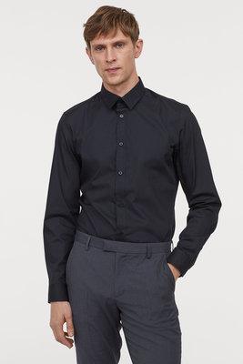 Новая мужская черная деловая классическая рубашка H&M Easy-iron slim fit р.L на наш 50 приталенная