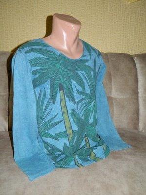 Кофта мужская новая голубая с зелёными пальмами Barazza р. 44-46.