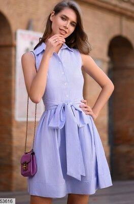 Женское летнее каттоновое платье в тонкую полоску Турция все размеры скл.1 арт. 53616