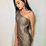 золотое платье в пайетки на одно плечо