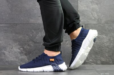 Nike кроссовки мужские демисезонные темно синие с белым 7846