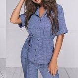 Женский летный брючный костюм с пиджаком ткань летний софт скл.1 арт.53961