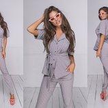 Женский летный брючный костюм с пиджаком ткань летний софт скл.1 арт.53960