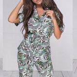 Женский летний брючный костюм с цветочным принтом ткань летний софт скл.1 арт.53957