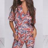 Женский летний брючный костюм с цветочным принтом ткань летний софт скл.1 арт.53956