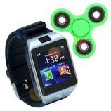 Смарт часы Smart Watch Phone DZ09 Black с Sim картой Спинер в подарок