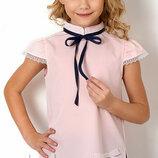 Блуза школьная с коротким рукавом на девочку 2718 Mevis Размеры 122- 146 Персик