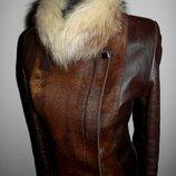 Кожаная куртка косуха из пони с чернобуркой р. s-m