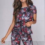 Женский летний брючный костюм с принтом ткань летний софт скл.1 арт.54024