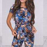 Женский летний брючный костюм с принтом ткань летний софт скл.1 арт.54022